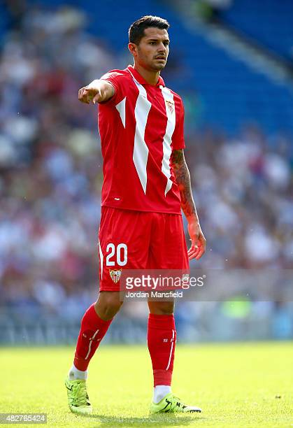 Vitolo of Sevilla looks on during the Pre Season Friendly between Brighton Hove Albion and Seville at Amex Stadium on August 2 2015 in Brighton...
