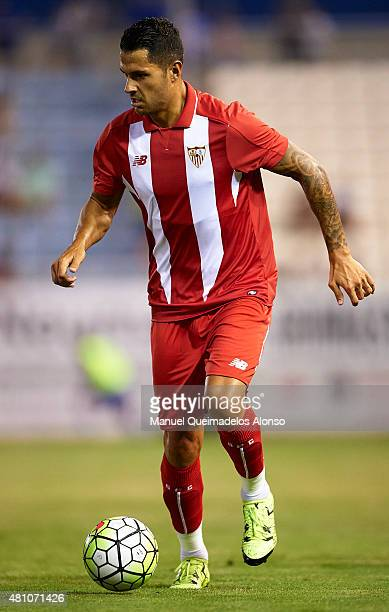 Vitolo of Sevilla runs with the ball during the friendly match between Lorca and Sevilla at Artes Carrasco stadium on July 16 2015 in Lorca Spain