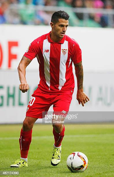 Vitolo of Sevilla runs with the ball during the friendly match between SV Werder Bremen and FC Sevilla at Weserstadion on July 25 2015 in Bremen...