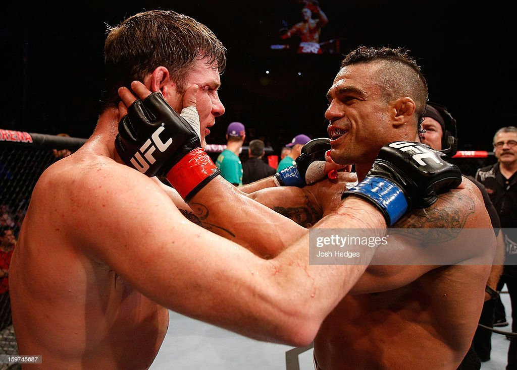 Vitor Belfort and Michael Bisping talk after Belfort knocked out Bisping in their middleweight fight at the UFC on FX event on January 19, 2013 at Ibirapuera Gymnasium in Sao Paulo, Brazil.