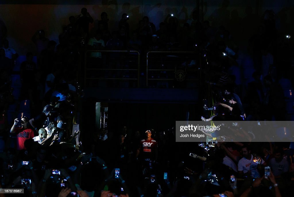 Vitor Belfort enters the arena before his light heavyweight bout against Dan Henderson during the UFC event at Arena Goiania on November 9, 2013 in Goiania, Brazil.