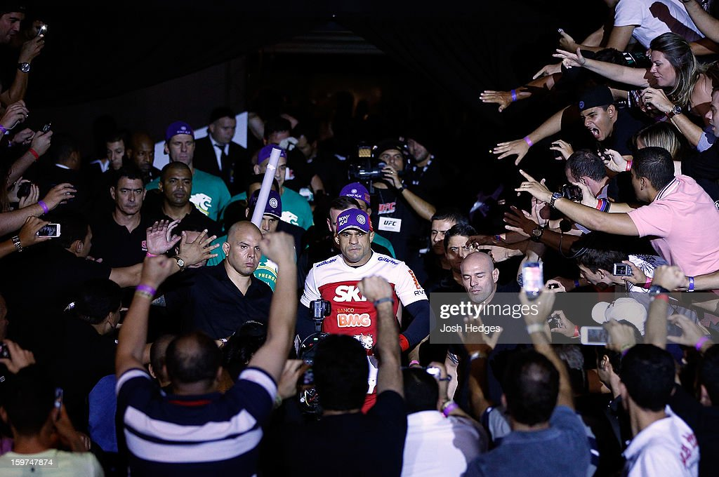 Vitor Belfort enters the arena before his middleweight fight against Michael Bisping at the UFC on FX event on January 19, 2013 at Ibirapuera Gymnasium in Sao Paulo, Brazil.