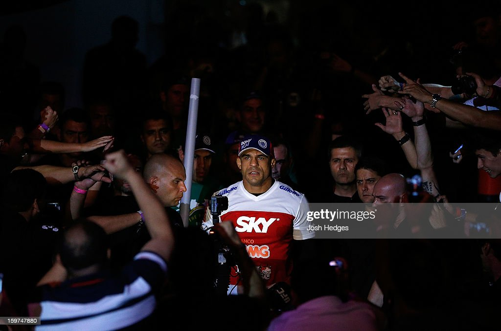 <a gi-track='captionPersonalityLinkClicked' href=/galleries/search?phrase=Vitor+Belfort&family=editorial&specificpeople=3433934 ng-click='$event.stopPropagation()'>Vitor Belfort</a> enters the arena before his middleweight fight against Michael Bisping at the UFC on FX event on January 19, 2013 at Ibirapuera Gymnasium in Sao Paulo, Brazil.