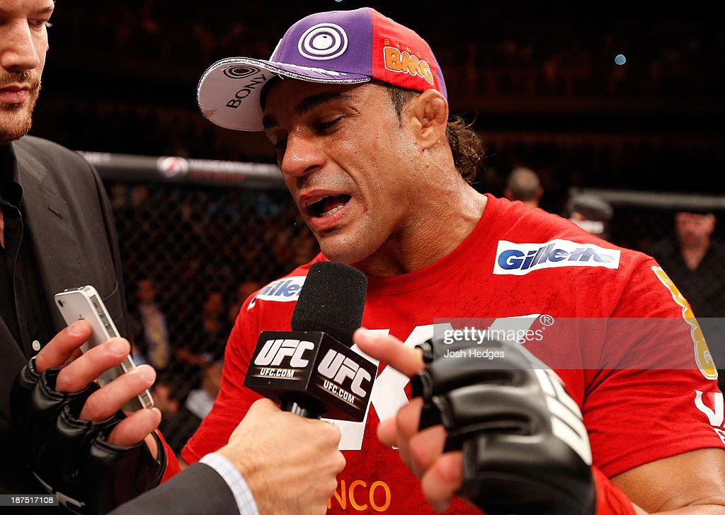 Vitor Belfort is interviewed after knocking out Dan Henderson in their light heavyweight bout during the UFC event at Arena Goiania on November 9, 2013 in Goiania, Brazil.