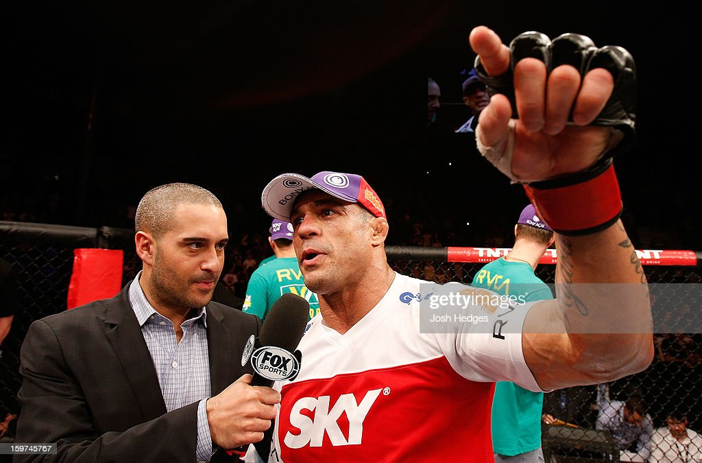 Vitor Belfort is interviewed by Jon Anik after knocking out Michael Bisping in their middleweight fight at the UFC on FX event on January 19, 2013 at Ibirapuera Gymnasium in Sao Paulo, Brazil.