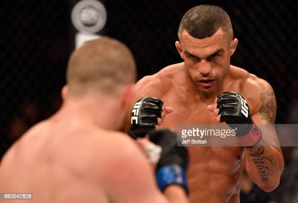 Vitor Belfort of Brazil squares off with Vitor Belfort of Brazil in their middleweight bout during the UFC 212 event at Jeunesse Arena on June 3 2017...