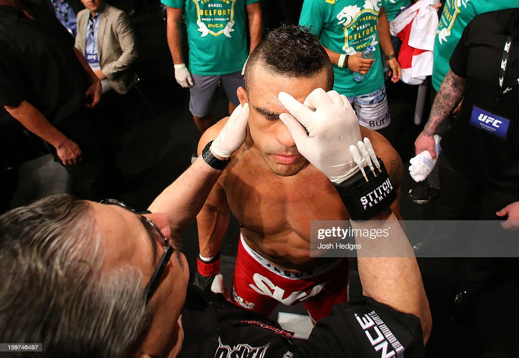 Vitor Belfort prepares to enter the Octagon before his middleweight fight against Michael Bisping at the UFC on FX event on January 19, 2013 at Ibirapuera Gymnasium in Sao Paulo, Brazil.