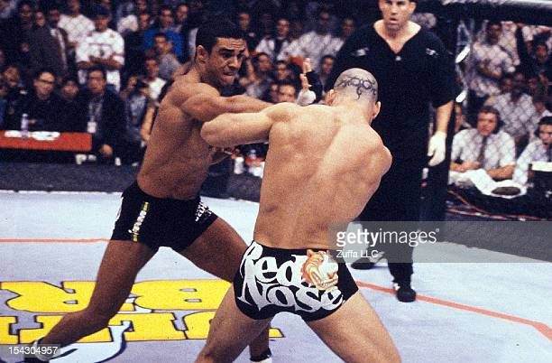 Vitor Belfort punches Wanderlei Silva during their middleweight fight at UFC Ultimate Brazil on October 16 1998 in Sao Paulo Brazil