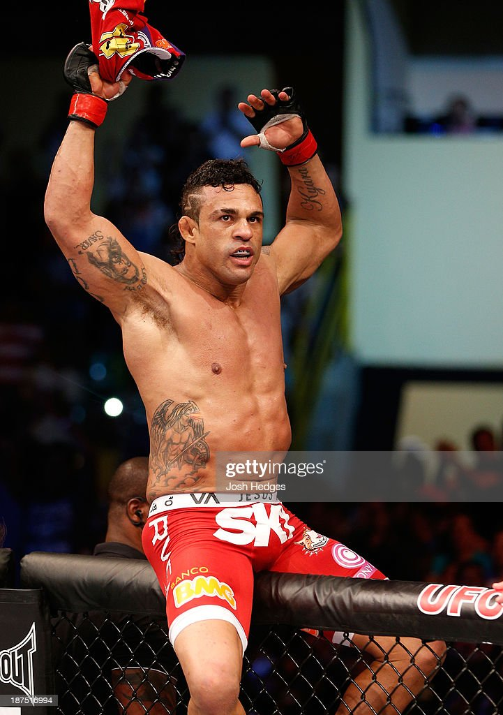 Vitor Belfort reacts after knocking out Dan Henderson in their light heavyweight bout during the UFC event at Arena Goiania on November 9, 2013 in Goiania, Brazil.
