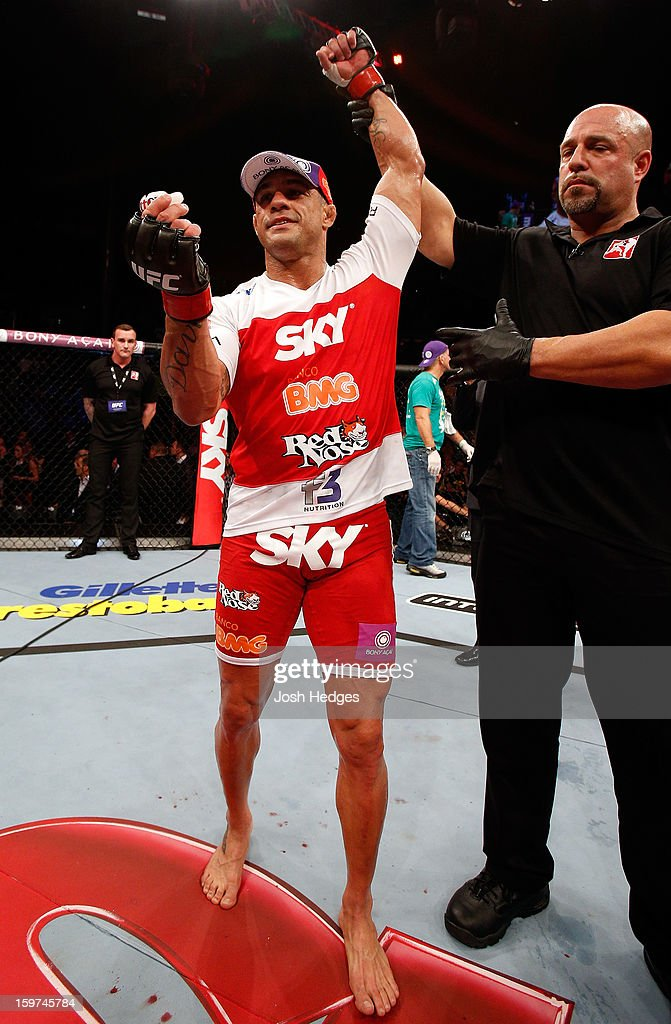 Vitor Belfort reacts after knocking out Michael Bisping in their middleweight fight at the UFC on FX event on January 19, 2013 at Ibirapuera Gymnasium in Sao Paulo, Brazil.