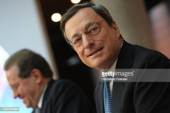 Vitor Constancio Vice President of the European Central Bank and Mario Draghi President of the European Centralbank speaks to the media about the new...