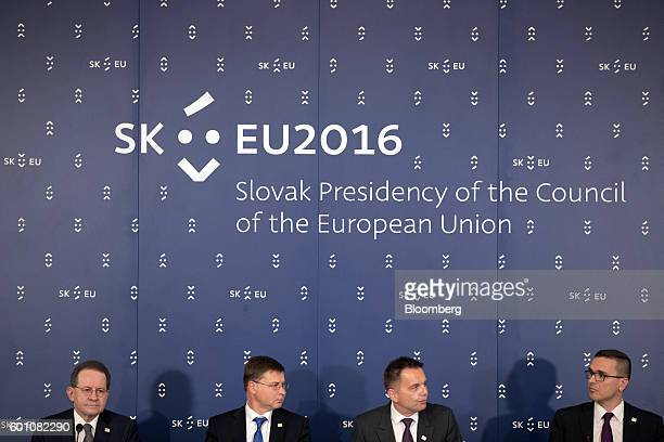 Vitor Constancio vice president of the European Central Bank from left Valdis Dombrovskis vice president of the European Commission Peter Kazimir...