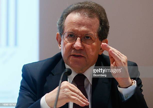 Vitor Constancio vice president of the European Central Bank gestures during a news conference at the bank's headquarters in Frankfurt Germany on...
