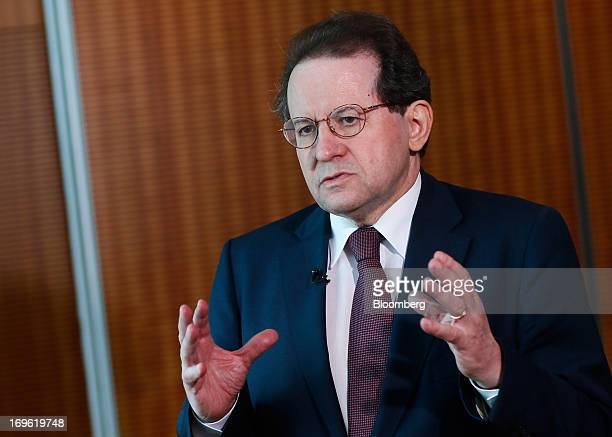 Vitor Constancio vice president of the European Central Bank gestures during a Bloomberg Television interview at the bank's headquarters in Frankfurt...
