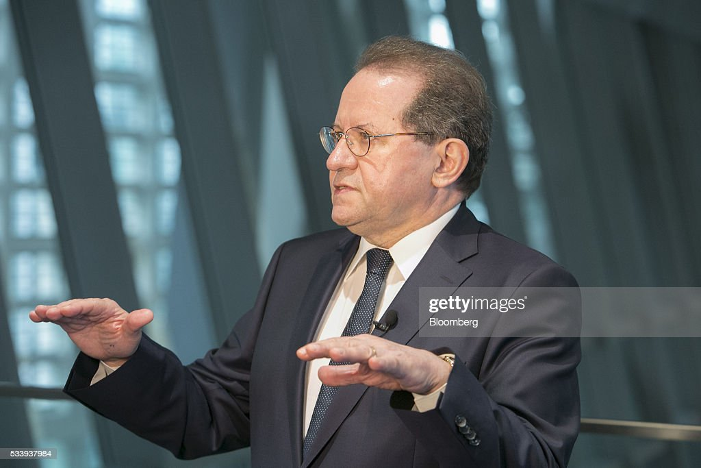 Vitor Constancio, vice president of the European Central Bank (ECB), gestures during a Bloomberg Television interview at the ECB's headquarters in Frankfurt, Germany, on Tuesday, May 24, 2016. The ECB warned that risks of financial-market turmoil have increased amid slower growth in emerging economies, weak bank profitability and the rise of populist movements across the 19-nation euro region. Photographer: Martin Leissl/Bloomberg via Getty Images