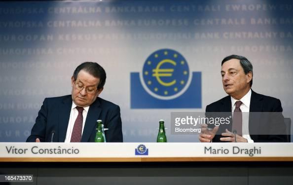Vitor Constancio vice president of the European Central Bank left reacts as Mario Draghi president of the European Central Bank speaks during a news...