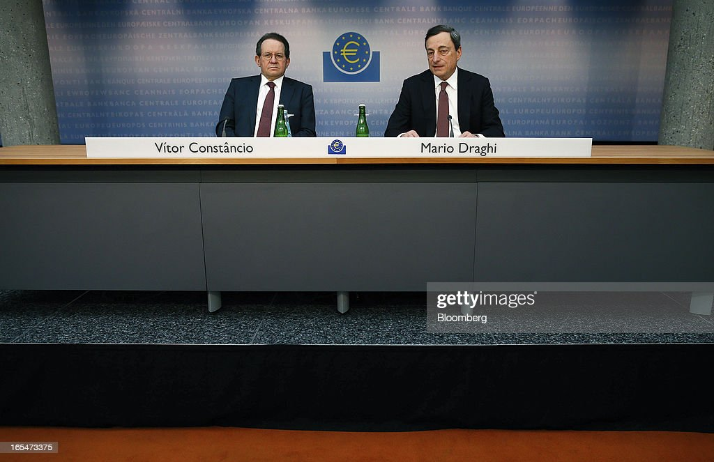 <a gi-track='captionPersonalityLinkClicked' href=/galleries/search?phrase=Vitor+Constancio&family=editorial&specificpeople=3163427 ng-click='$event.stopPropagation()'>Vitor Constancio</a>, vice president of the European Central Bank (ECB), left, listens as <a gi-track='captionPersonalityLinkClicked' href=/galleries/search?phrase=Mario+Draghi&family=editorial&specificpeople=571678 ng-click='$event.stopPropagation()'>Mario Draghi</a>, president of the European Central Bank (ECB), speaks during a news conference at the bank's headquarters in Frankfurt, Germany, on Thursday, April 4, 2013. Draghi signaled the ECB stands ready to cut interest rates if the economy deteriorates and said officials are considering additional measures as a debt crisis enters its fourth year. Photographer: Ralph Orlowski/Bloomberg via Getty Images
