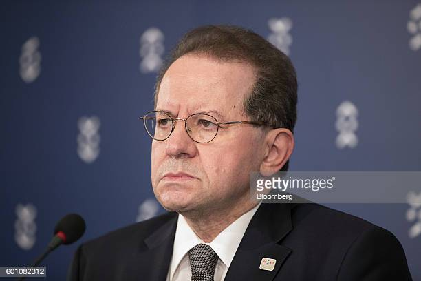 Vitor Constancio vice president of the European Central Bank listens during a press conference following a meeting of European finance ministers in...