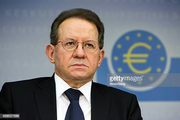 Vitor Constancio vice president of the European Central Bank looks on during a news conference to announce the bank's interest rate decision in...