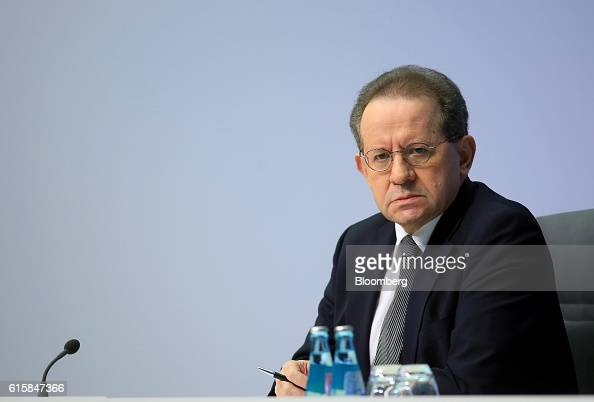 Vitor Constancio vice president of the European Central Bank looks on during a news conference to announce the bank's interest rate decision at the...
