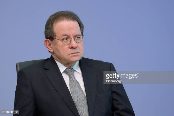 Vitor Constancio vice president of the European Central Bank looks on during a news conference following the bank's interest rate decision at the ECB...