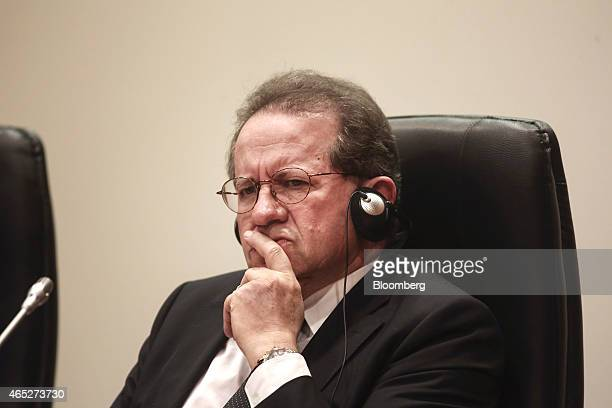 Vitor Constancio vice president of the European Central Bank pauses during a news conference following an ECB meeting in Nicosia Cyprus on Thursday...