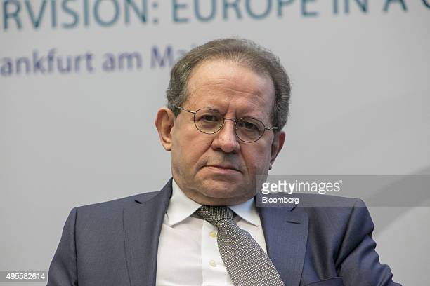 Vitor Constancio vice president of the European Central Bank pauses during a banking supervision forum at the ECB headquarters in Frankfurt Germany...