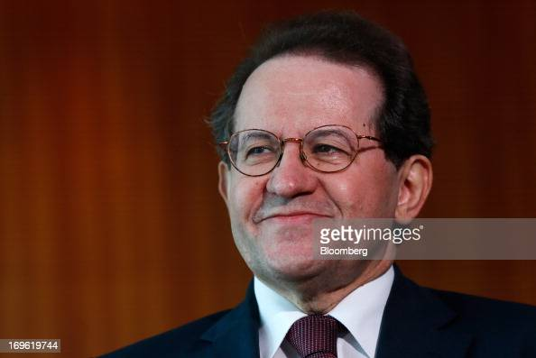 Vitor Constancio vice president of the European Central Bank reacts following a Bloomberg Television interview at the bank's headquarters in...