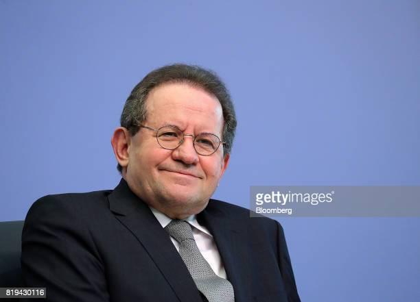 Vitor Constancio vice president of the European Central Bank reacts during a news conference following the bank's interest rate decision at the ECB...