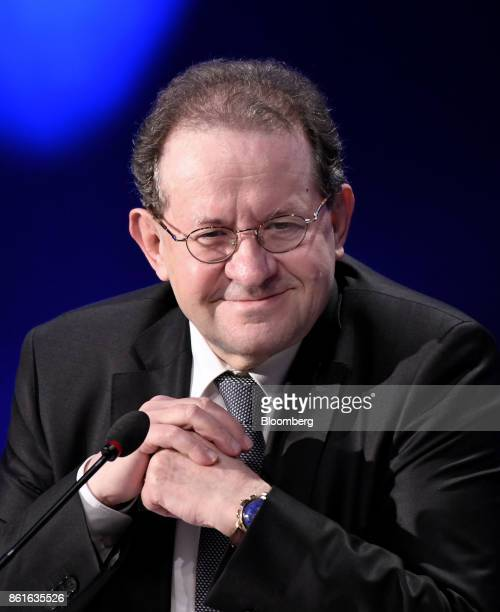 Vitor Constancio vice president of the European Central Bank smiles during the Group of Thirty International Banking Seminar in Washington DC US on...