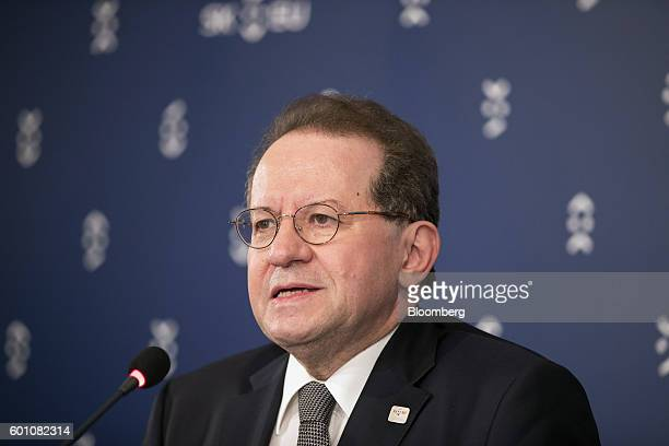 Vitor Constancio vice president of the European Central Bank speaks during a press conference following a meeting of European finance ministers in...