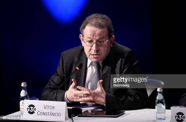 Vitor Constancio vice president of the European Central Bank speaks during the Group of Thirty International Banking Seminar in Washington DC US on...
