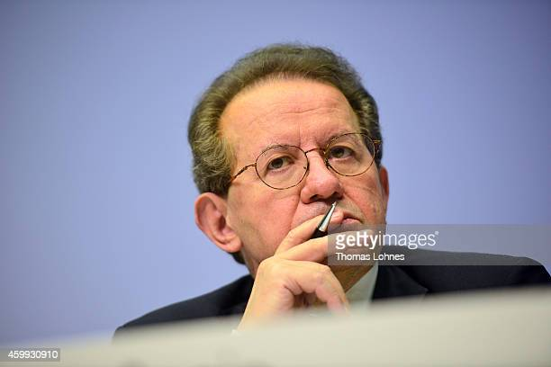 Vitor Constancio vicepresident of the European Central Bank pictured during his first press conference following the monthly ECB board meeting in the...