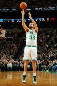 Vitor Faverani of the Boston Celtics shoots the ball against the Orlando Magic on November 1 2013 at the TD Garden in Boston Massachusetts NOTE TO...