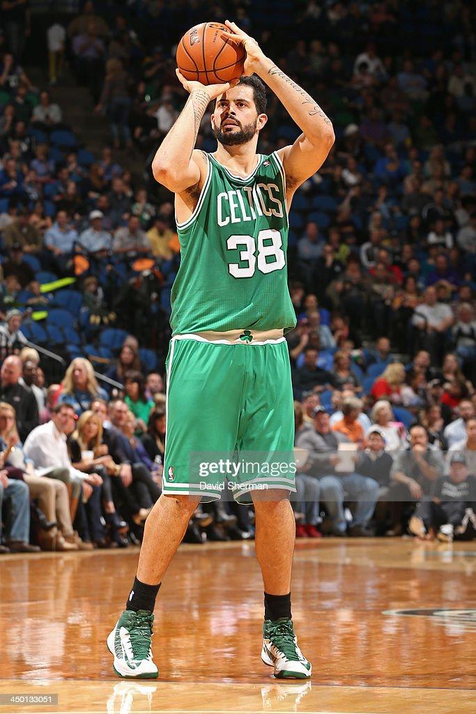 Vitor Faverani #38 of the Boston Celtics shoots the ball against the Minnesota Timberwolves on November 16, 2013 at Target Center in Minneapolis, Minnesota.