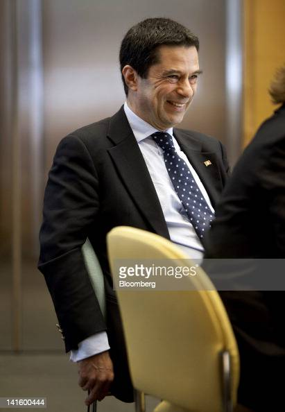 Vitor Gaspar Portugal's finance minister smiles during an introduction before speaking at the Peterson Institute in Washington DC US on Monday March...