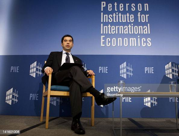 Vitor Gaspar Portugal's finance minister speaks at the Peterson Institute in Washington DC US on Monday March 19 2012 Gaspar said he is 'optimistic'...