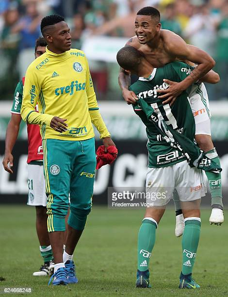 Vitor Hugo and Gabriel Jesus celebrates after winning the match between Palmeiras and Botafogo for the Brazilian Series A 2016 at Allianz Parque on...