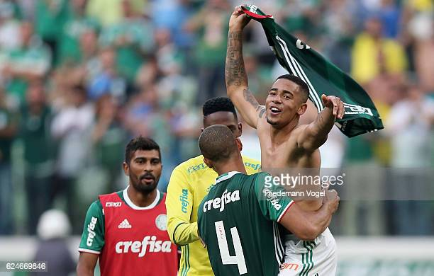 Vitor Hugo and Gabriel Jesus of Palmeiras celebrates after winning the match between Palmeiras and Botafogo for the Brazilian Series A 2016 at...