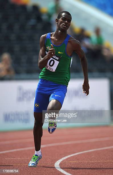 Vitor Hugo Dos Santos of Brazil in the Boys 200 Metres Round 1 race during Day 3 of the IAAF World Youth Championships at the RSC Olimpiyskiy Stadium...