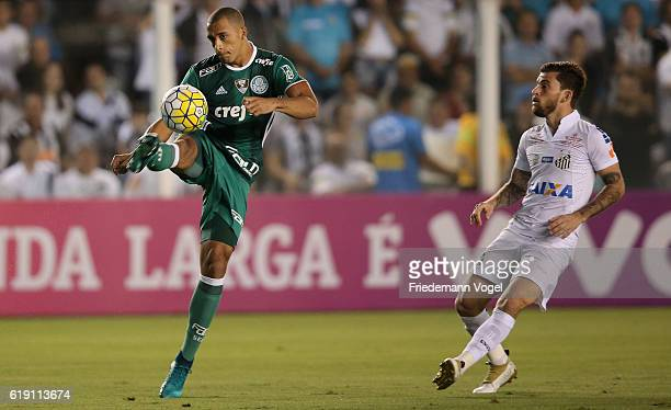 Vitor Hugo of Palmeiras fights for the ball with Lucas Lima of Santos during the match between Santos and Palmeiras for the Brazilian Series A 2016...