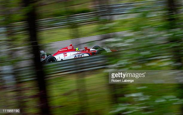 Vitor Meira of Brazil driver of the A J Foyt Enterprises Dallara Honda during warm up for the IndyCar Series Honda Indy Grand Prix of Alabama at...