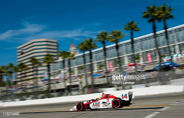 Vitor Meira of Brazil driver of the A J Foyt Enterprises Dallara Honda during qualifying for the IndyCar Series Toyota Grand Prix of Long Beach on...