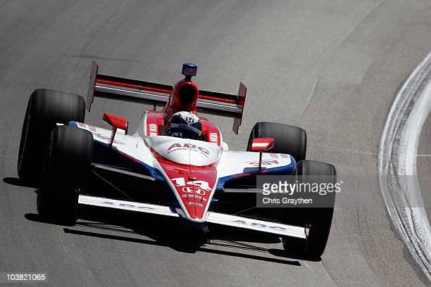 Vitor Meira of Brazil driver of the ABC Supply Co AJ Foyt Racing Dallara Honda drives during qualifying for the Kentucky Indy 300 on September 3 2010...