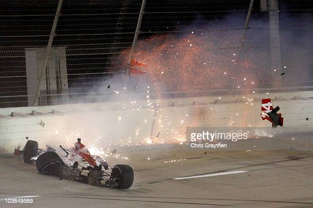 Vitor Meira of Brazil driver of the ABC Supply Co AJ Foyt Racing Dallara Honda catches on fire as he wrecks on turn three during the IndyCar Series...