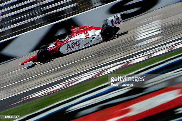 Vitor Meira of Brazil driver of the ABC Supply Co Dallara Honda practices for the IZOD IndyCar Series Firestone Twin 275's at Texas Motor Speedway on...