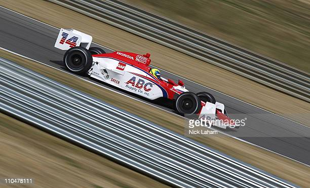 Vitor Meira of Brazil drives the ABC Supply Co AJ Foyt Racing Dallara Honda poses during the IRL Indy Car Series Media Day at Barber Motorsports Park...