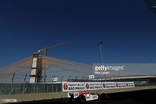 Vitor Meira of Brazil drives the ABC Supply Co AJ Foyt Racing Dallara Honda during practice for the Itaipava Sao Paulo Indy 300 on April 30 2011 in...