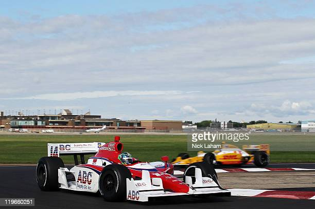 Vitor Meira of Brazil drives the ABC Supply Co AJ Foyt Racing Dallara Honda during practice for the IZOD IndyCar Series Honda Indy Edmonton at...