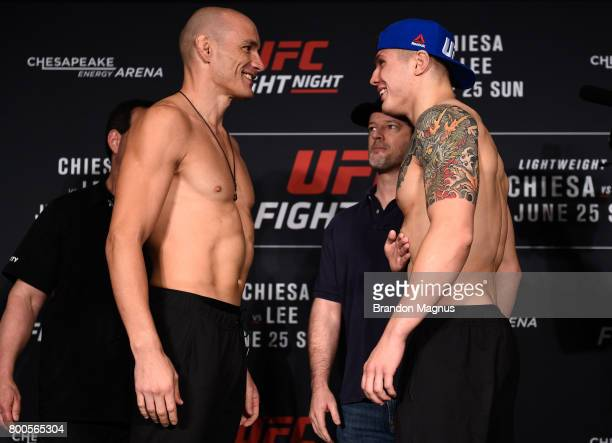 Vitor Miranda of Brazil and Marvin Vettori of Italy face off during the UFC Fight Night weighin on June 24 2017 in Oklahoma City Oklahoma